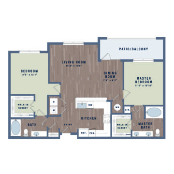 Rendering of the B2b floor plan layout
