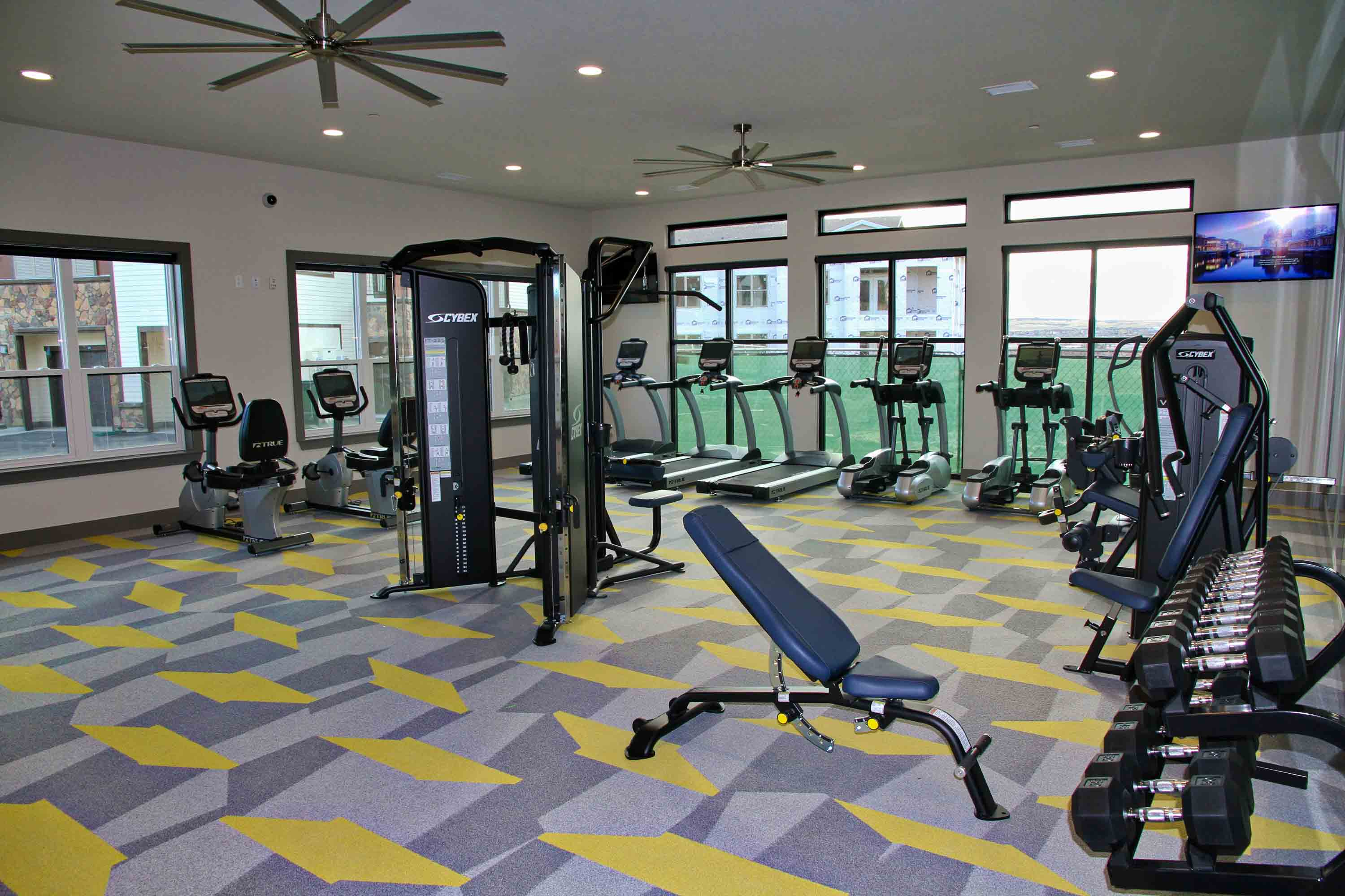 Fitness center with cardio and weight machines, dumbbell rack, and tall windows with natural light.