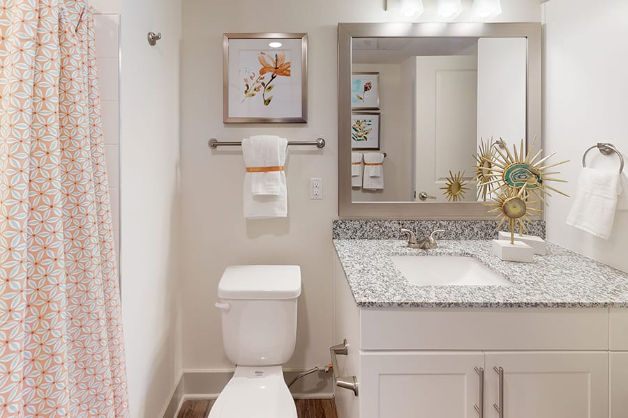 Bathroom with granite countertop, tiled shower with geometric floral shower curtain, and countertop sculptures.